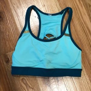 Blue and green Lululemon sports bra